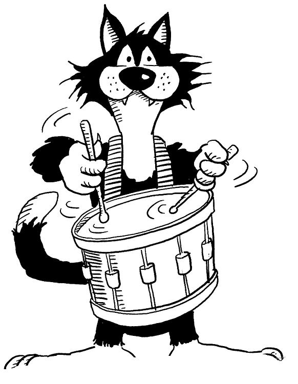 desenho de gato tocando tambor para colorir  tudodesenhos