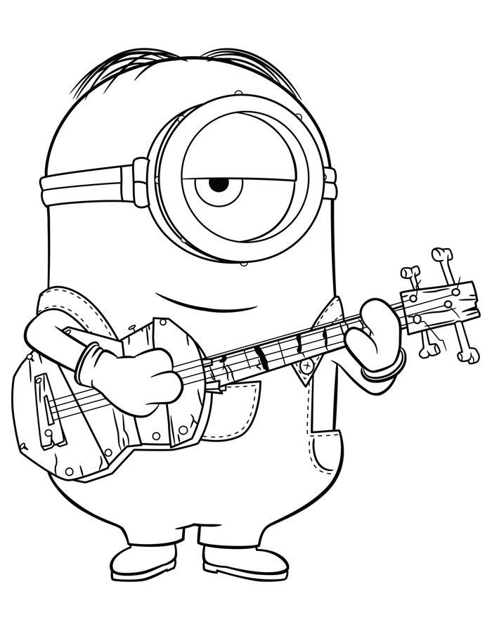 Desenho De Minions Tocando Violão Para Colorir Tudodesenhos