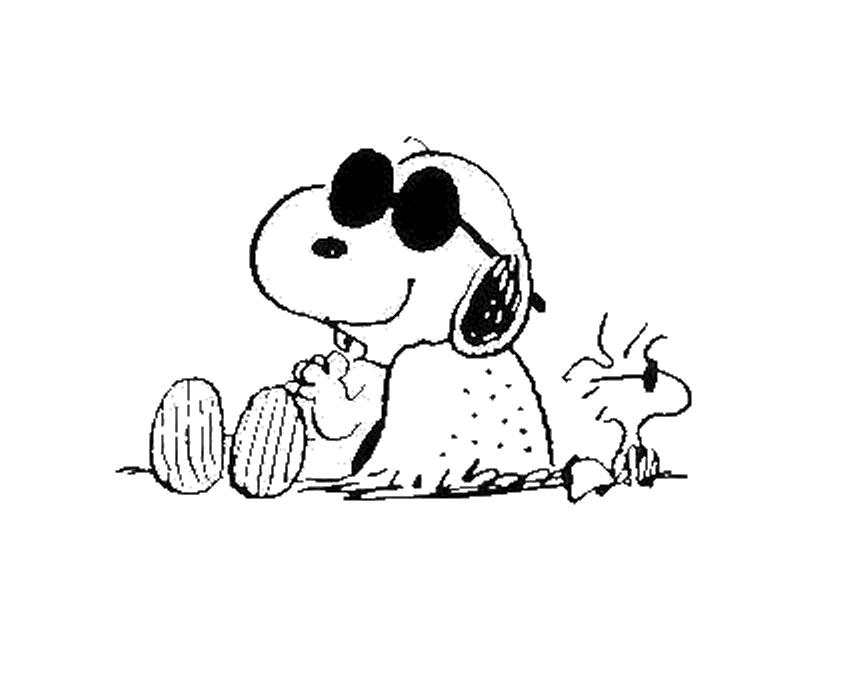 Desenho Do Snoopy Para Colorir: Desenho De Snoopy E Woodstock Tomando Sol Para Colorir