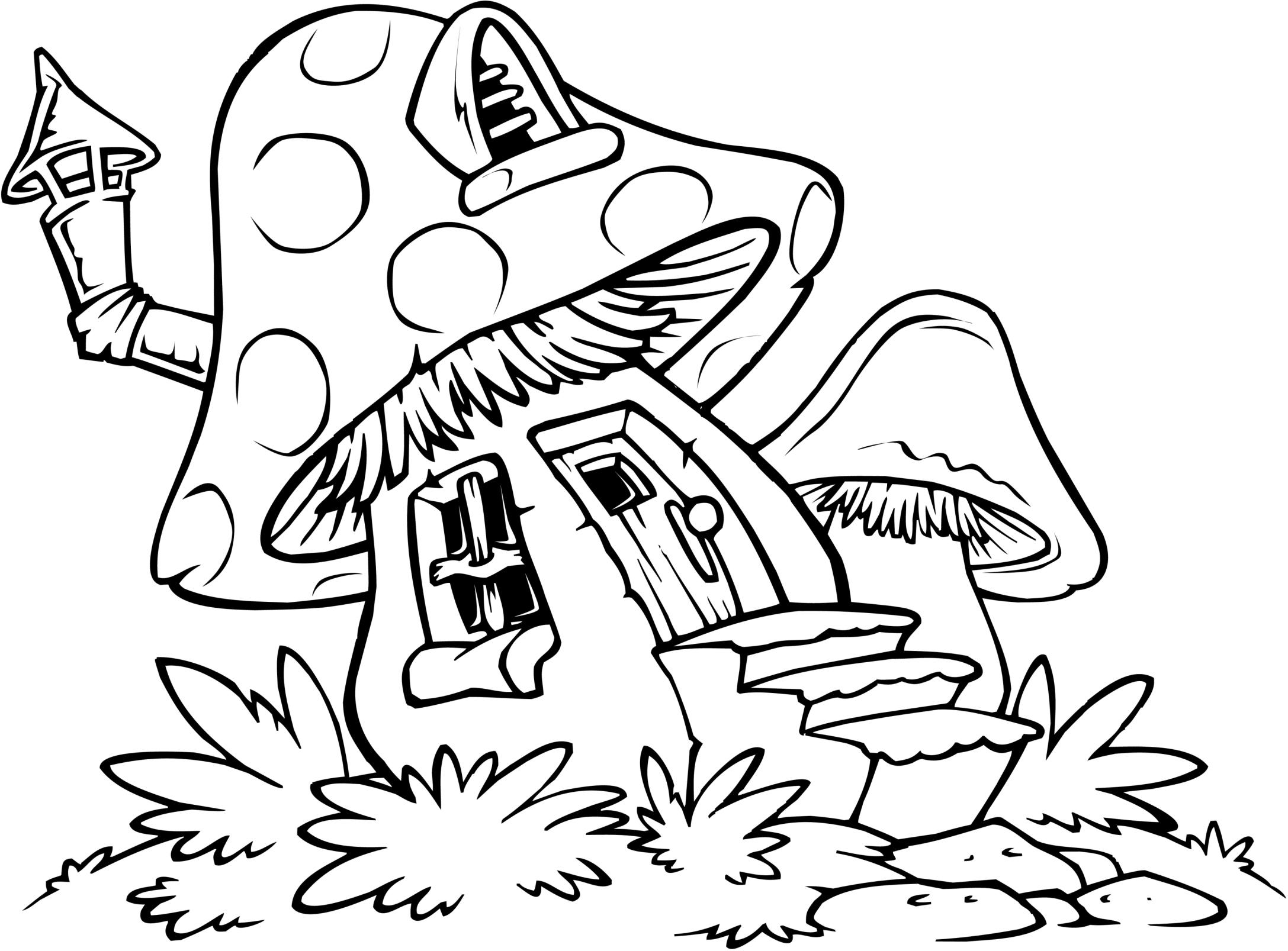 Desenho De Casa Cogumelo Dos Smurfs Para Colorir