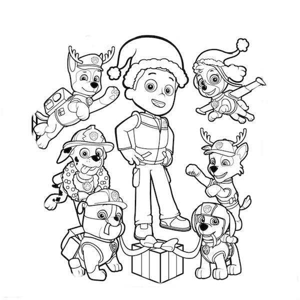 Desenho De Natal Da Patrulha Canina Para Colorir Tudodesenhos