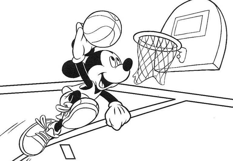 Desenho De Mickey Fazendo Cesta No Basquete Para Colorir