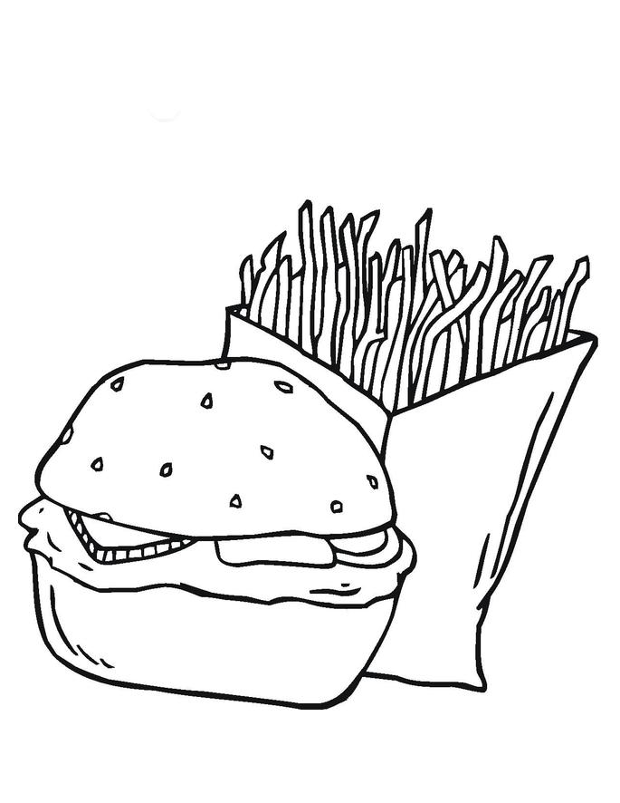 Desenho De Hamburguer E Saquino De Batata Frita Para Colorir