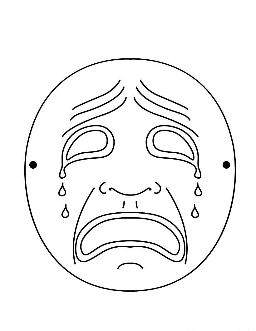 Desenho De Mascara Da Tristeza Para Colorir Tudodesenhos