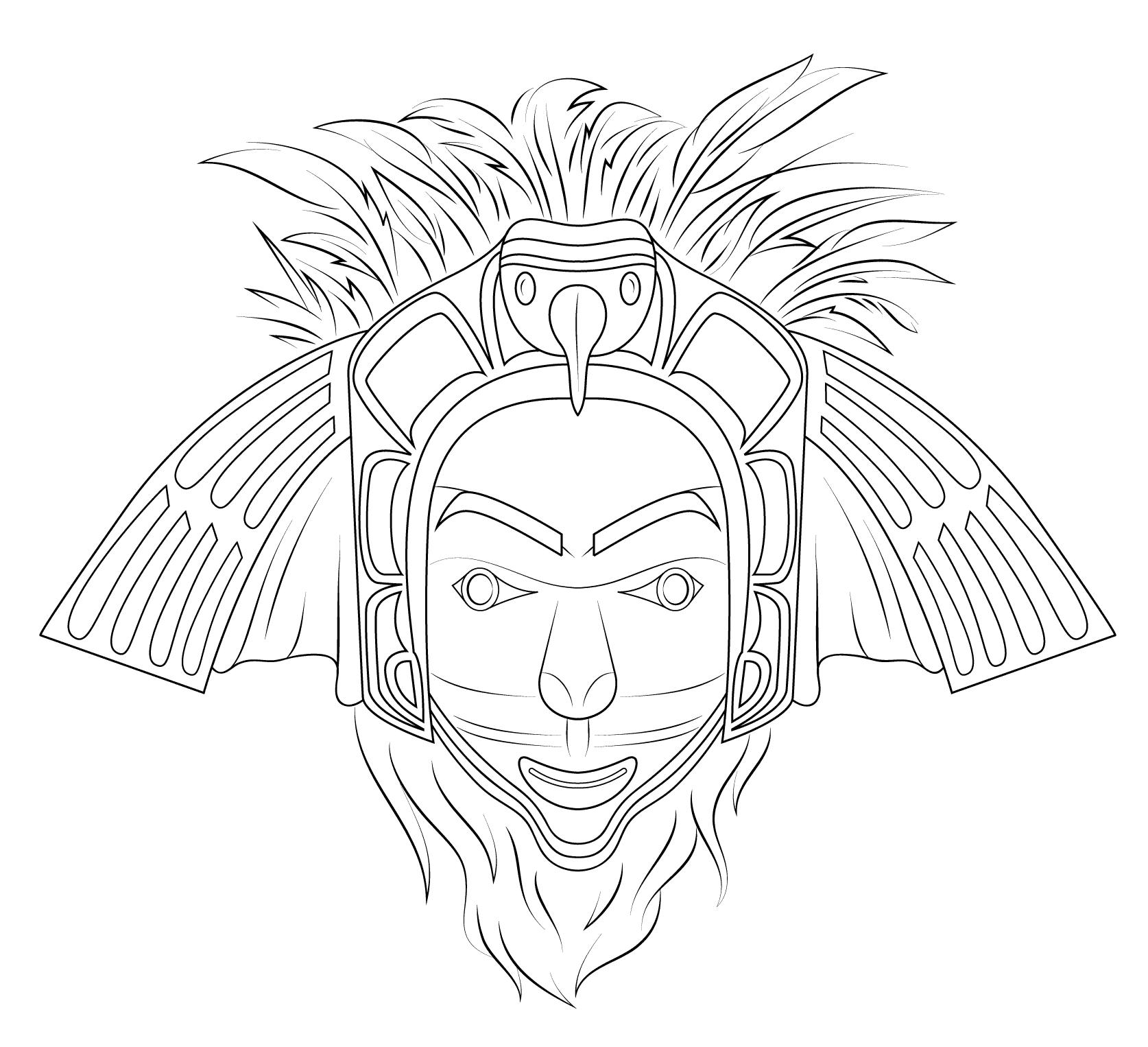 Desenho de m scara de nativo americano para colorir - Fogli da colorare nativo americano ...