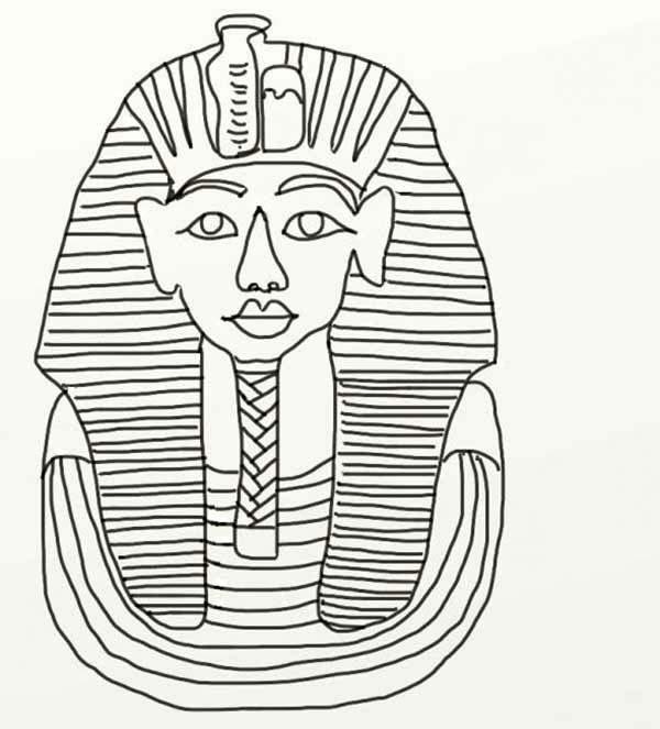 Desenho De M 225 Scara Do Rei Tutankamon Para Colorir