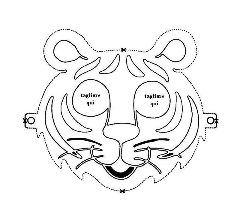 Desenho de m scara bonita de tigre para colorir tudodesenhos for Immagini tigre da colorare