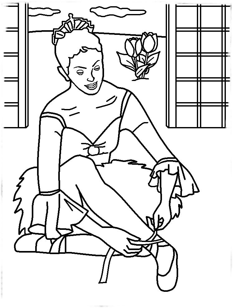 Desenho De Bailarina Amarrando Sapatilhas De Bale Para Colorir