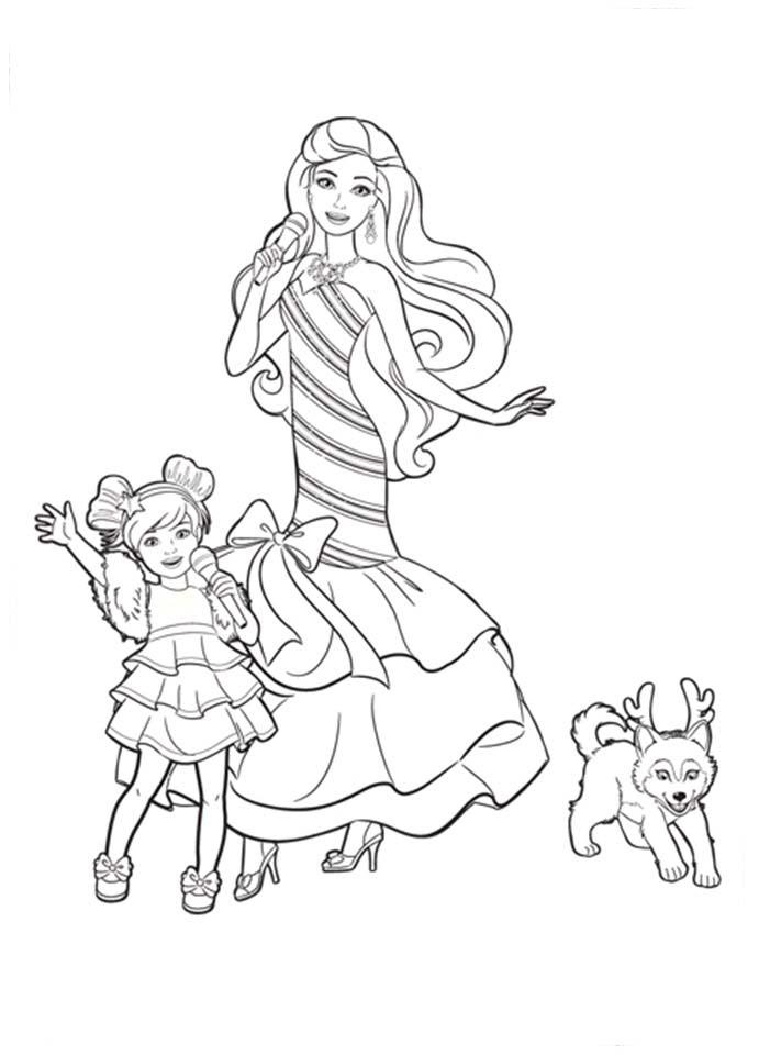 Desenho De Barbie E Sua Irmãzinha Cantando Para Colorir