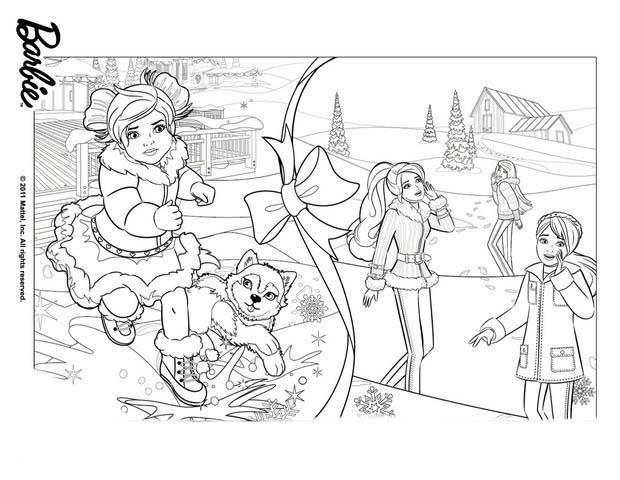 Desenho De Barbie E Irmãs Preparando Natal Para Colorir