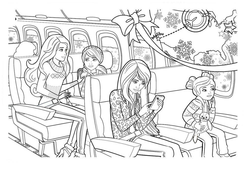 Desenho De Barbie E Irmãs Presas No Trem Para Colorir