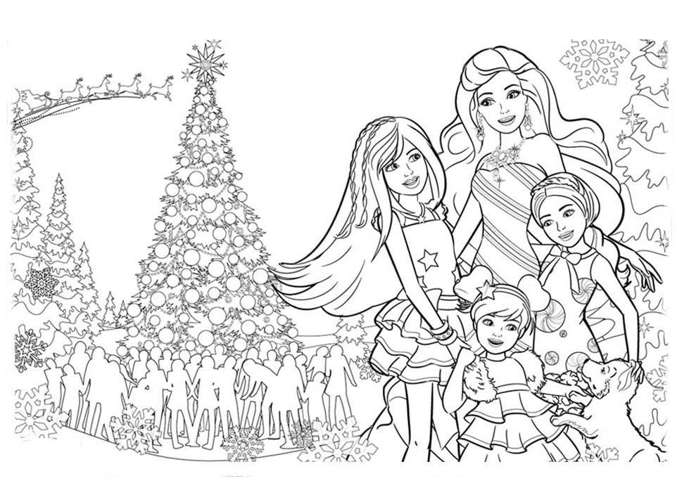 Desenho De Barbie E Irmãs Diante Da árvore De Natal Para
