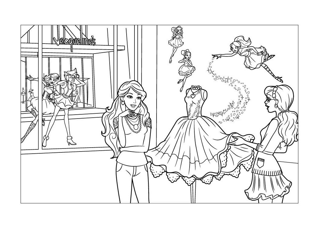 Desenho De Barbie E Fadas Da Moda Costurando Vestido Para