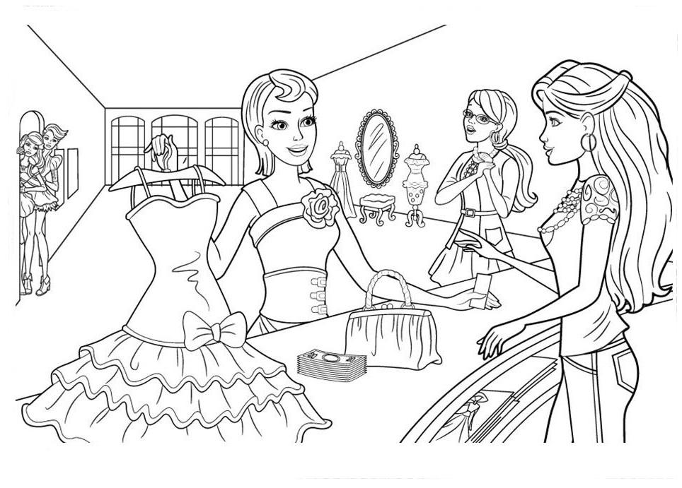 Desenho De Barbie E As Fadas Da Moda Costurando Para