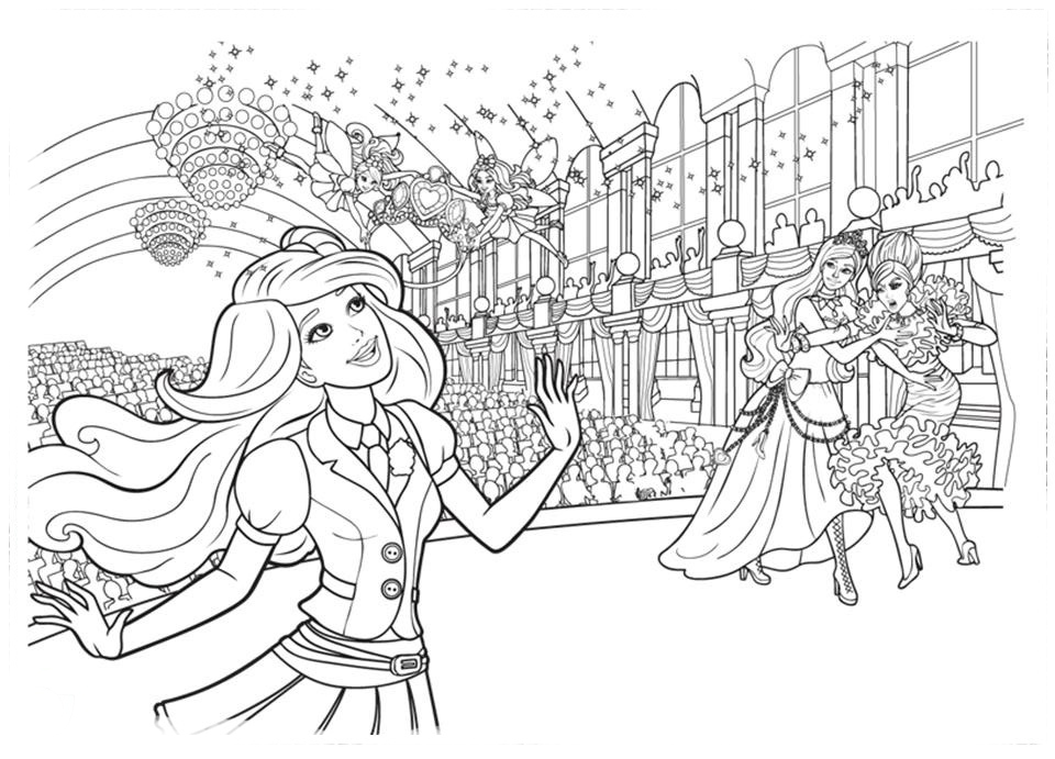 Desenho De Barbie Na Escola De Princesas Para Colorir