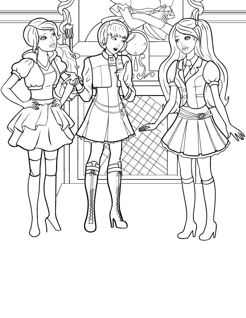Desenho De Barbie E Amigas De Escola Conversando Para