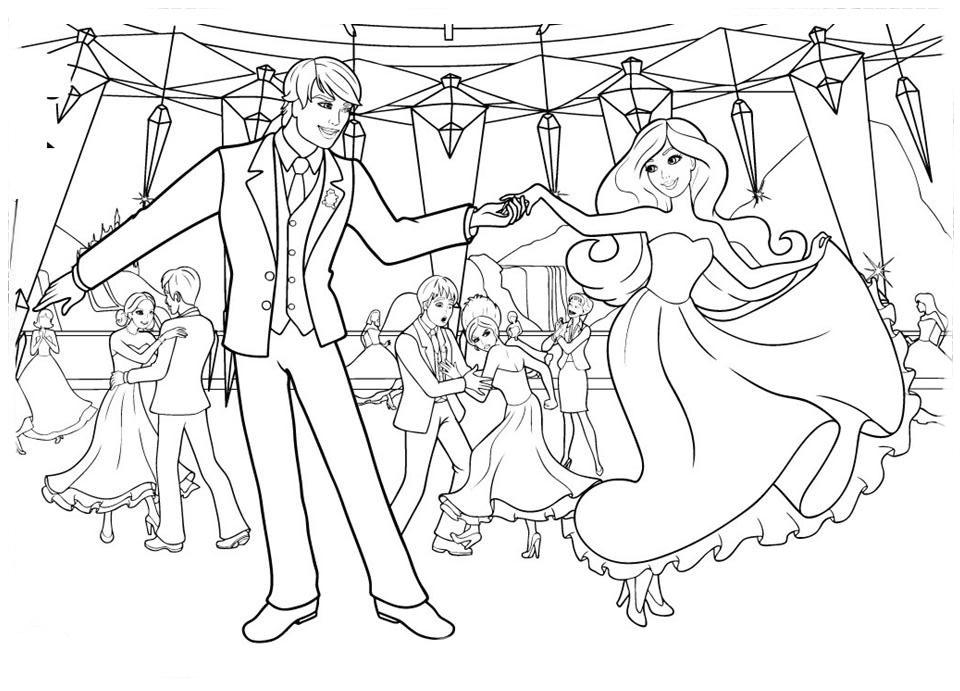 Desenhos Para Colorir Principe: Desenho De Barbie E Príncipe No Baile Da Escola De