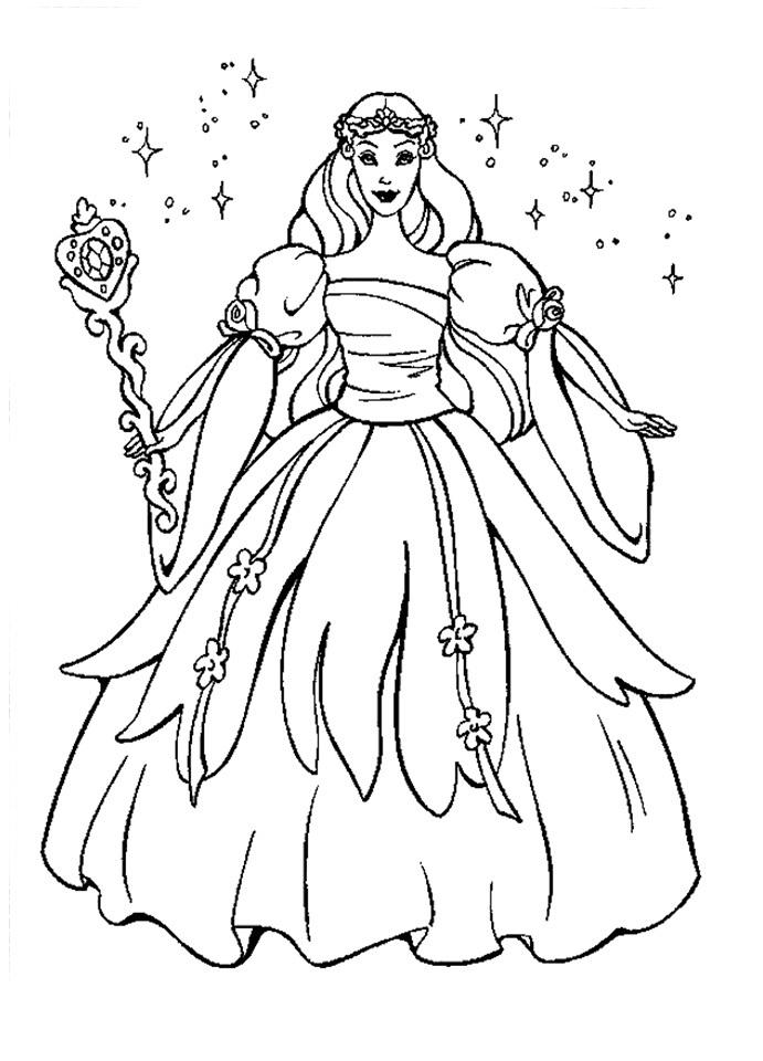 desenho de barbie com cetro e coroa de princesa para colorir