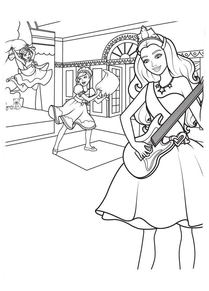 desenho de barbie tocando violão antes do show para colorir