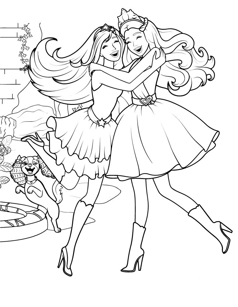 Desenho De Barbie Abraçando Amiga Pop Star Para Colorir