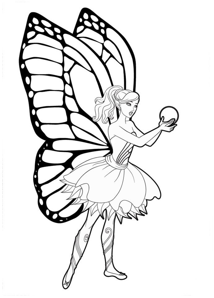 Desenho de barbie butterfly e bola cristal para colorir