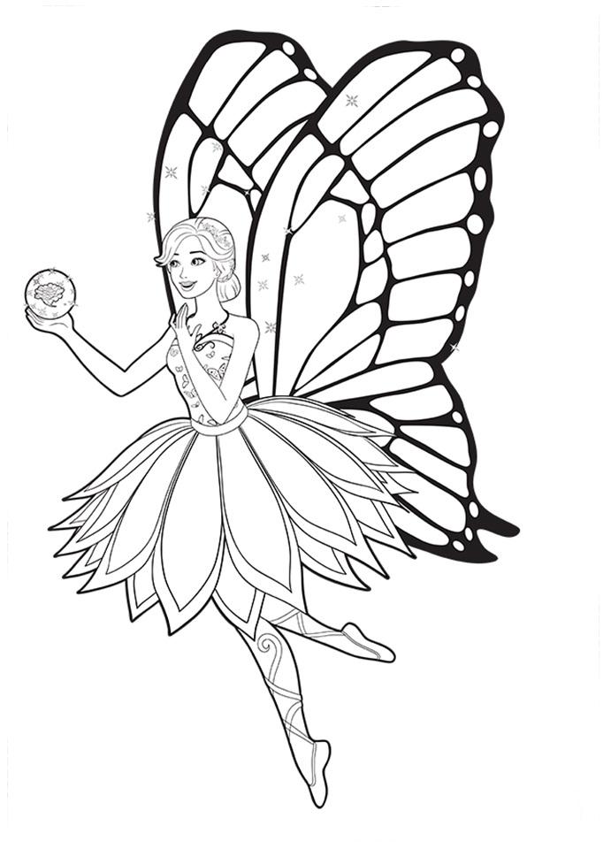 Desenho de Barbie mariposa apreciando