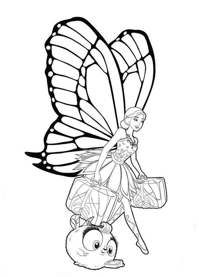 Desenho de Barbie mariposa viajando