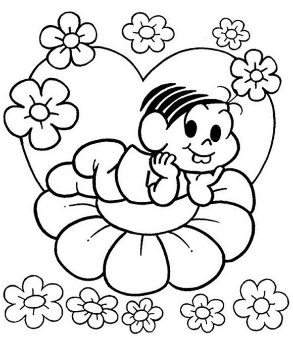 Desenho de Monica na primavera para colorir - Tudodesenhos