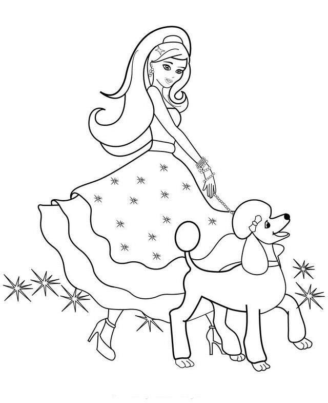 Desenho De Barbie E Lindo Cãozinho Para Colorir Tudodesenhos