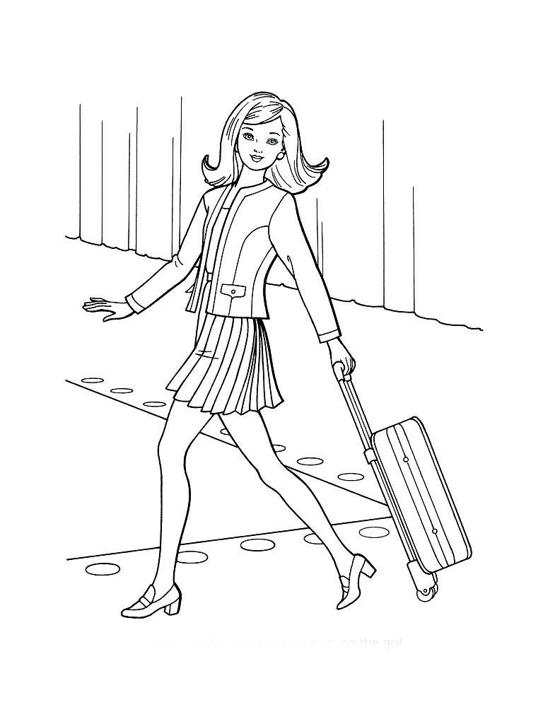 desenho de barbie carregando mala para colorir tudodesenhos