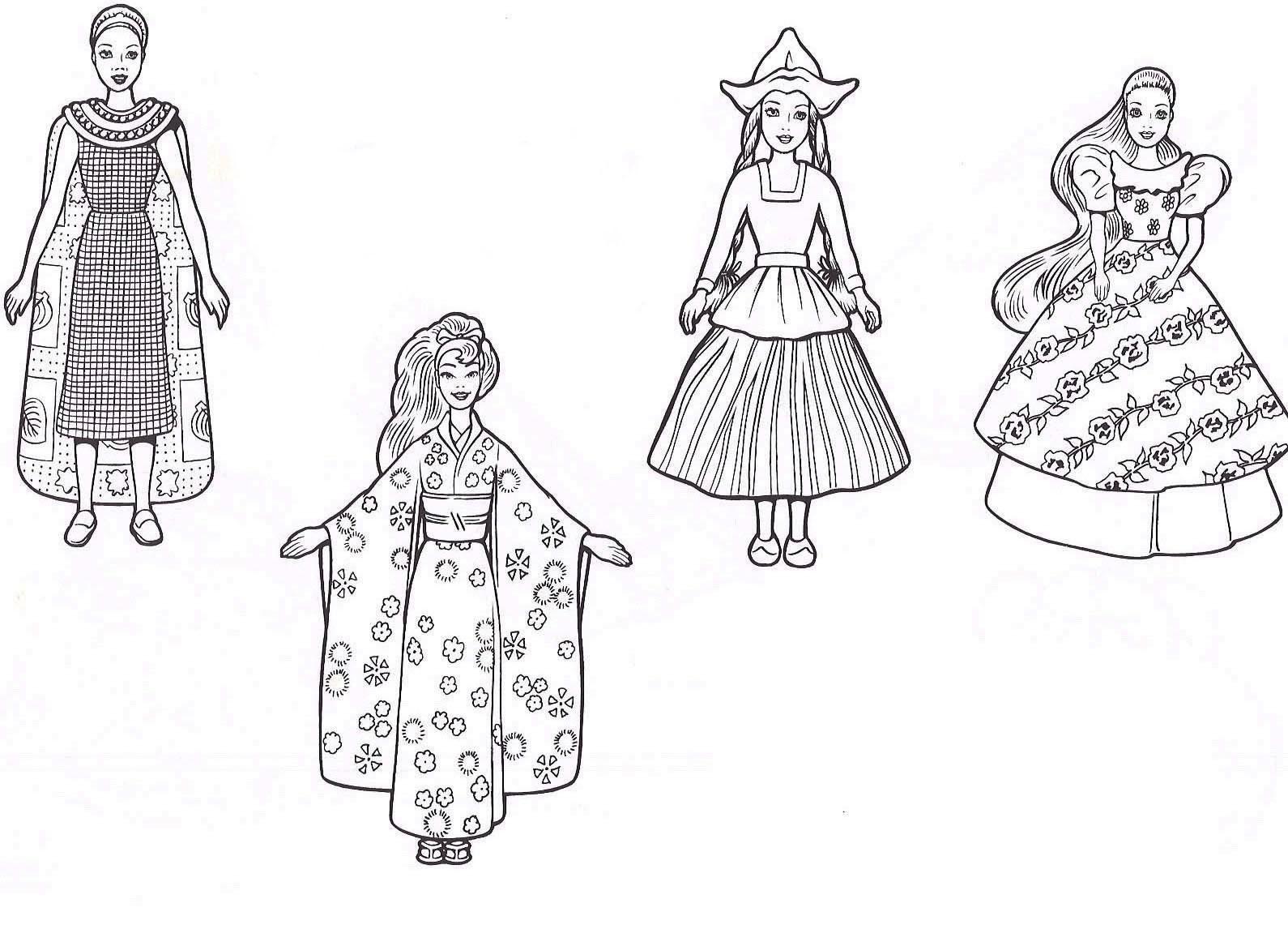 desenho de roupas da barbie para colorir tudodesenhos