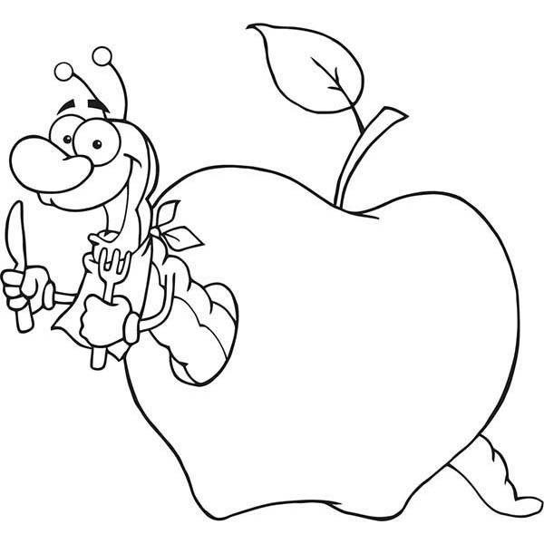 desenho de bicho de maçã com garfo e faca para colorir tudodesenhos