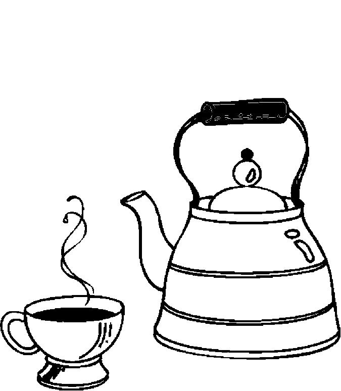 Desenho De Chaleira E Xicara Para Colorir Tudodesenhos