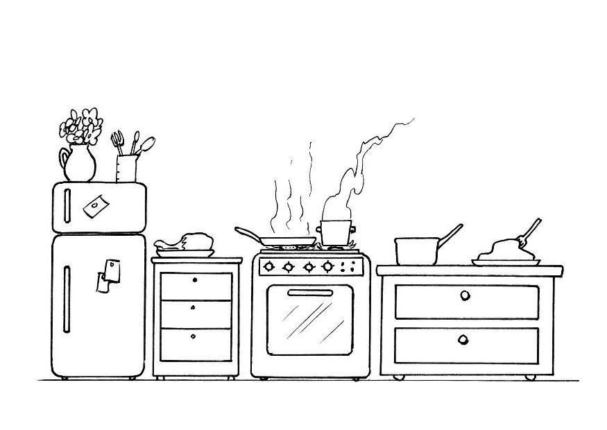 desenho de coisas de cozinha para colorir tudodesenhos. Black Bedroom Furniture Sets. Home Design Ideas