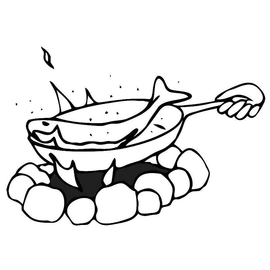 Desenho De Frigideira Com Peixe Frito Para Colorir