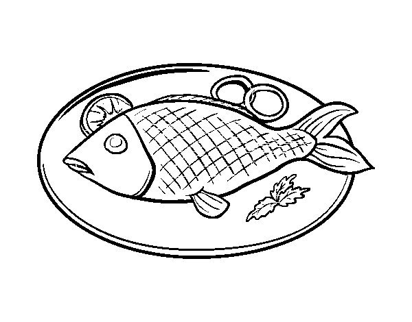 Imagens Para Colorir Peixe: Desenho De Prato De Peixe Para Colorir