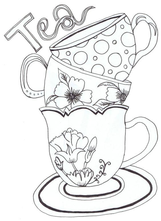 Desenho De Xicaras De Cha Para Colorir Tudodesenhos