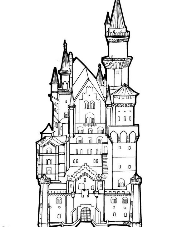 desenho de castelo grande para colorir tudodesenhos