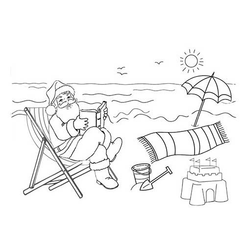 Desenho De Papai Noel Na Praia Para Colorir