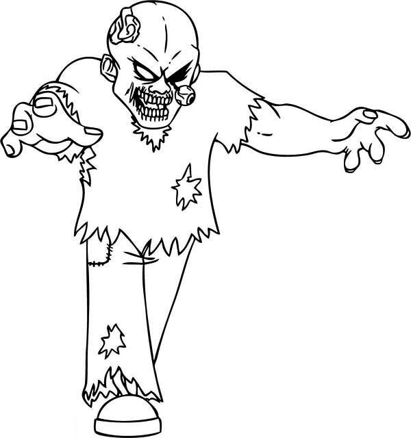 Desenho De Zumbi Assustador Para Colorir Tudodesenhos