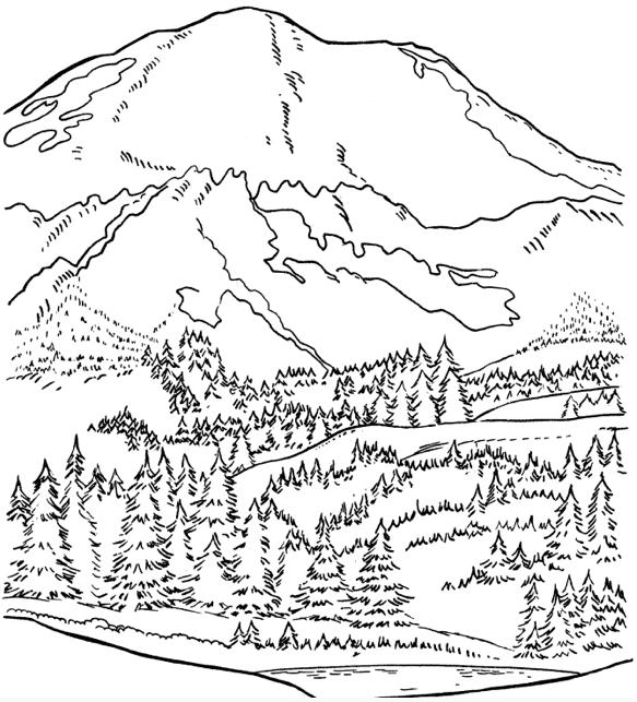 Desenho de Montanha dos Pirineus para colorir Tudodesenhos