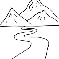 desenho de rio na montanha para colorir tudodesenhos