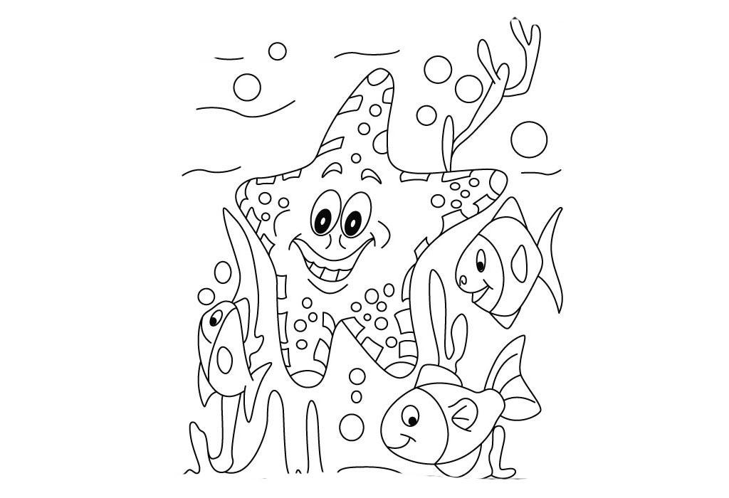 Desenho De Estrela-do-mar No Aquário Para Colorir
