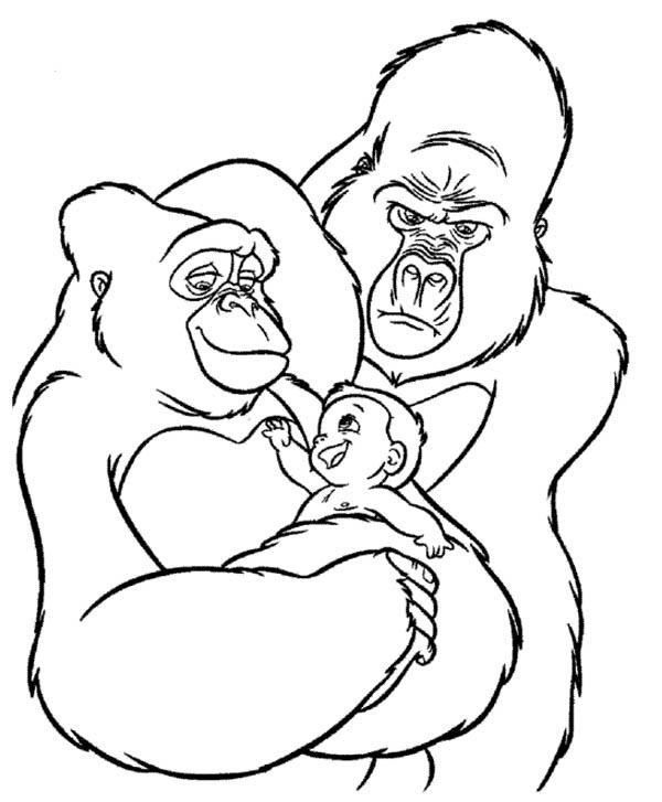 Desenho de Família de gorilas para colorir - Tudodesenhos