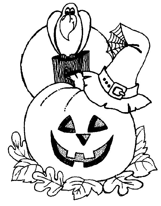 Desenho de corvo e ab bora do halloween para colorir - Calabaza halloween para colorear ...