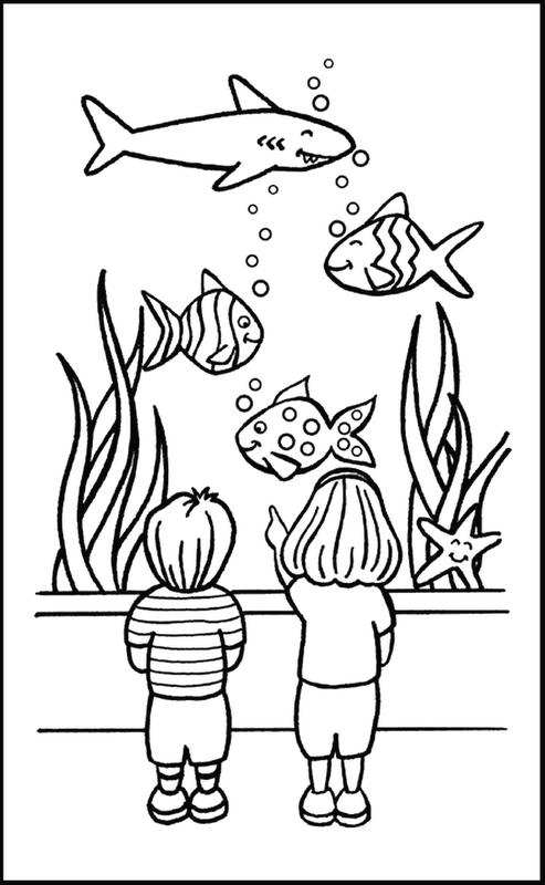 Desenho De Criancas Vendo Peixes No Aquario Para Colorir