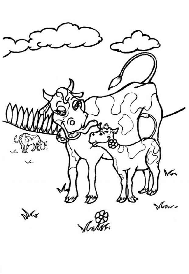 Desenho de vaca e bezerro para colorir tudodesenhos - Vache dessin facile ...