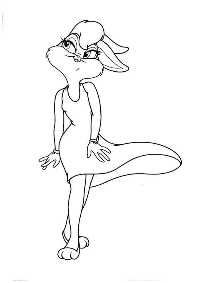 Desenho de Lola Bunny passeando para colorir - Tudodesenhos