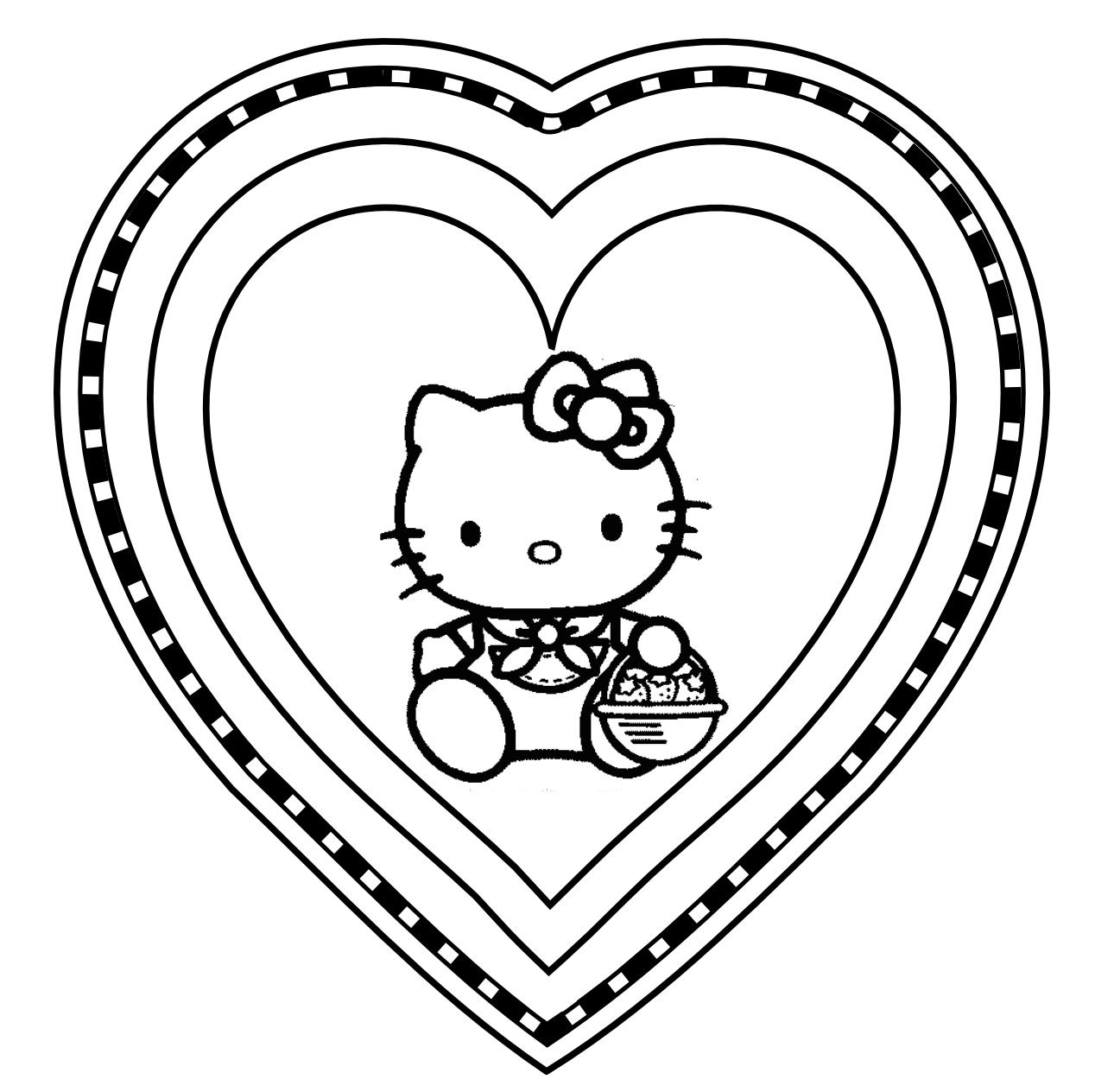 Desenho De Coração De Hello Kitty Para Colorir