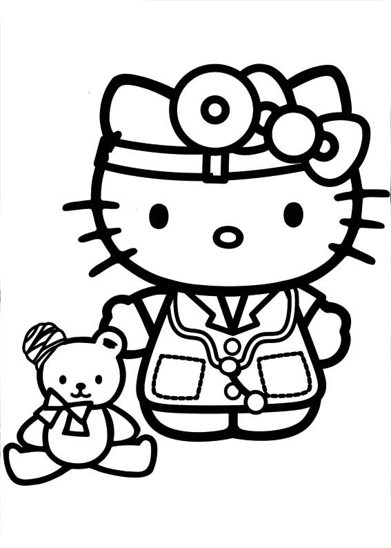 Desenho De Hello Kitty Brincando De Medico Para Colorir Tudodesenhos
